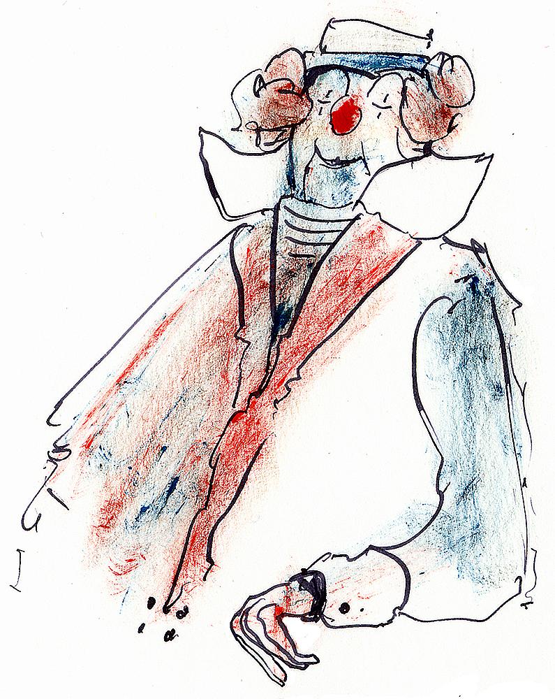 blau-weiß-roter Clown